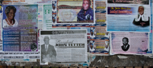 Roadside obituary posters