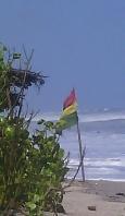 Ghanian flag on the beach