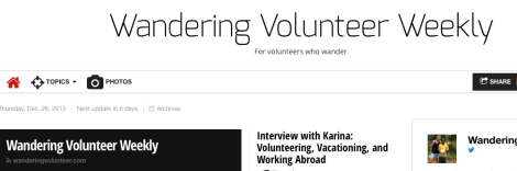 Wandering Volunteer Weekly